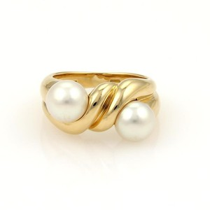 BVLGARI Bulgari 18k Yellow Gold Double 7mm Pearls Twisted Design Band Ring