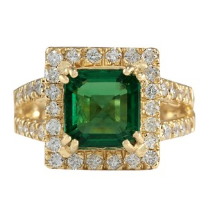 Fashion Strada 3.37CTW Natural Emerald And Diamond Ring In 14K Yellow Gold