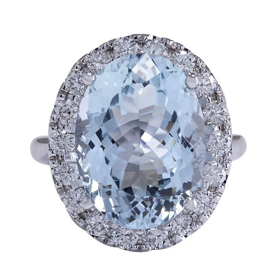 Fashion Strada 9.84 Carat Natural Aquamarine 14K White Gold Diamond Ring