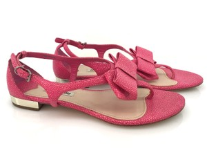 Miu Miu Bow Singray Embossed Bows Pink Sandals