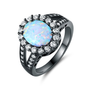 Tori Hamilton Black Rhodium Plated White Fire Opal Ring - Size 8 (OPRB1015-8)