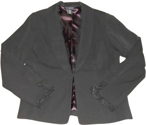 Dialogue New Black Lined Suit Blazer Jacket With Lace Trim Accent Size 4