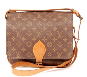 Louis Vuitton Monogram Canvas Cartouchiere Gm Leather Vintage Cross Body Bag