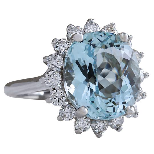 Fashion Strada 8.94CTW Natural Aquamarine And Diamond Ring In 14K Solid White Gold
