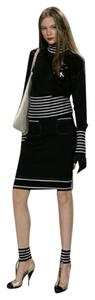 Chanel CHANEL TWO PIECE SET SWEATER TOP SKIRT AIRPLANE PINS NAVY BLUE 36 4