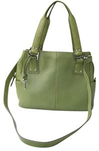 Fossil Pebbled Leather Section Pocket Satchel in Green