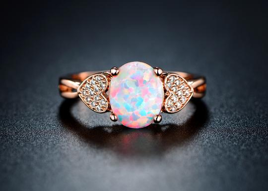 Tori Hamilton 18K Rose Gold Plated Opal & Cubic Zirconia Ring - size 5 (OPRB1017-5)