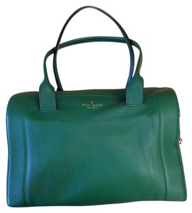 Kate Spade Doctor Bowling Pebbled Leather Satchel in Green