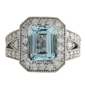 Fashion Strada 4.67CTW Natural Aquamarine And Diamond Ring In 14K Solid White Gold