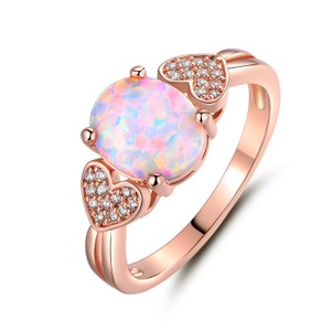 Tori Hamilton 18K Rose Gold Plated Opal & Cubic Zirconia Ring - size 8 (OPRB1017-8)