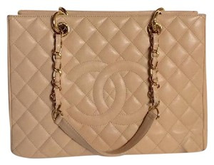 Chanel Gst Caviar Grand Shopping Tote in beige gold
