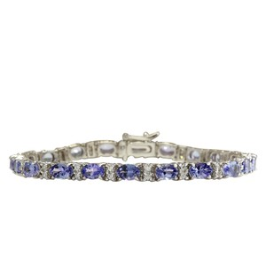 Fashion Strada 11.01CTW Natural Tanzanite And Diamond Bracelet In 14K Solid White Gol