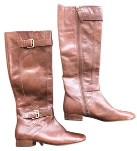 Nine West Brown Brown Gold Hardware Flat Chestnut Brown Boots