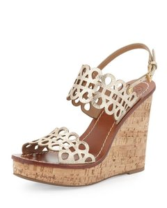 Tory Burch Gold Metallic Wedge Summer Platinum Metallic Gold Sandals