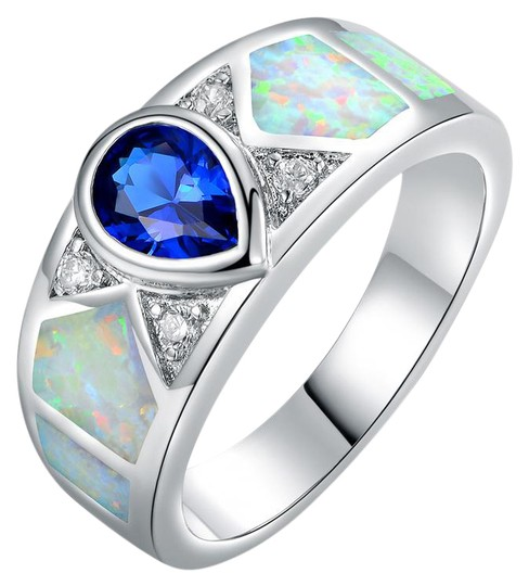 Preload https://img-static.tradesy.com/item/21245043/silver-blue-white-18k-gold-plated-sapphire-and-opal-size-9-oprb1020-9-ring-0-1-540-540.jpg