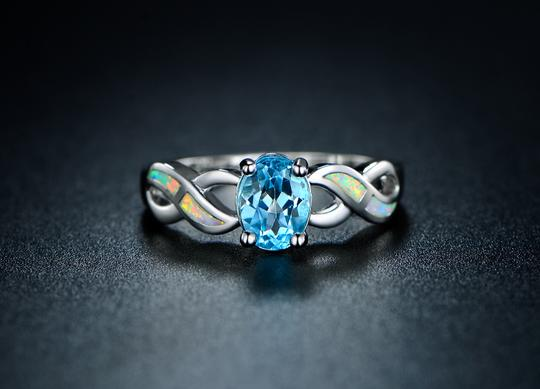 Tori Hamilton 18K White Gold Plated Blue Topaz & Opal Ring - Size 6 (OPRB1024-6)
