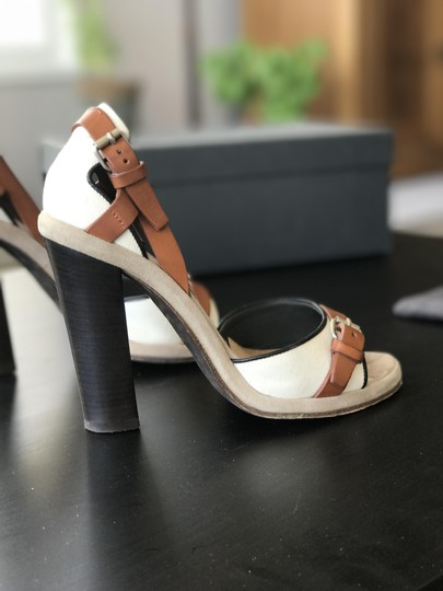 Proenza Schouler Neutral Brown And Leather Linen Buckles Cream Sandals