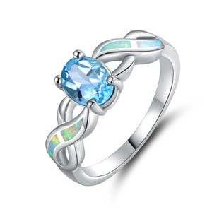 Tori Hamilton 18K White Gold Plated Blue Topaz & Opal Ring - Size 9 (OPRB1024-9)