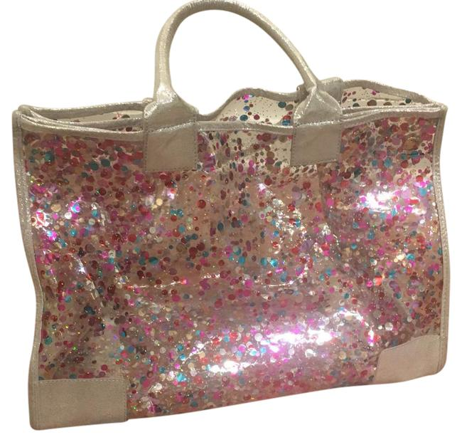 Item - Clear Silver Pink Plastic Beach Bag