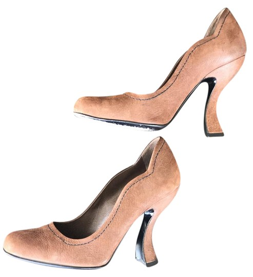Prada Funky Heel Leather Square Toe Goat Leather Stitching Brown Pumps