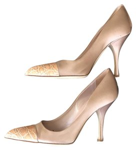 Prada Rose Gold Leather Silk Satin Champagne Pumps
