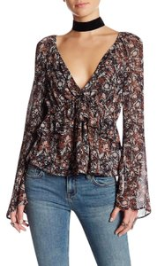 Free People Floral Bell Sleeve Uptown Ruffle Tie Top Black