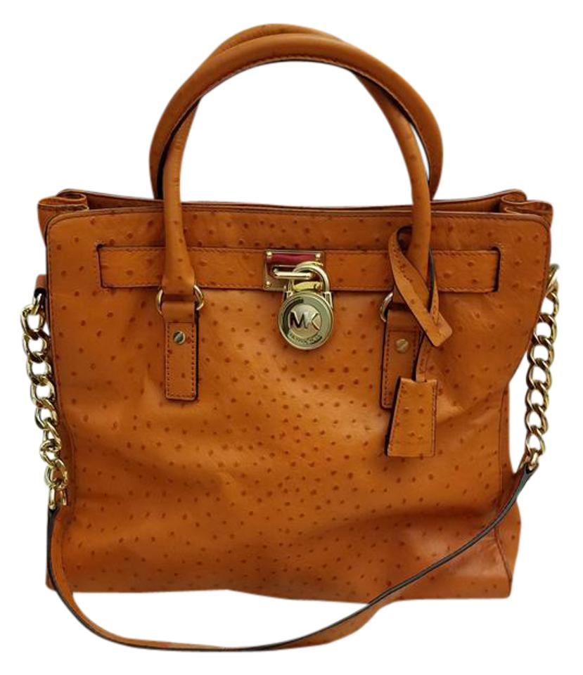 dd325a237524 MICHAEL Michael Kors Hamilton Large Luggage Embossed Tangerine Ostrich  Leather Tote