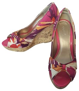 Qupid Multi color, floral print, cork Wedges