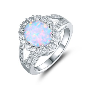 Tori Hamilton 18K White Gold Plated Opal & Cubic Zirconia Ring - Size 8 (OPRB1027-8)