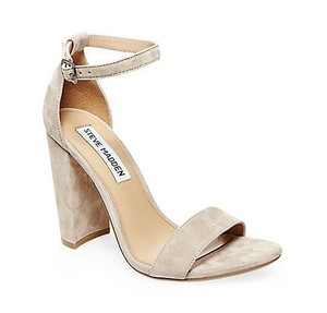 Steve Madden Block Heel Carrson Suede Taupe Taupe Suede Pumps