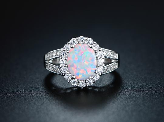 Tori Hamilton 18K White Gold Plated Opal & Cubic Zirconia Ring Size 10 (OPRB1027-10)