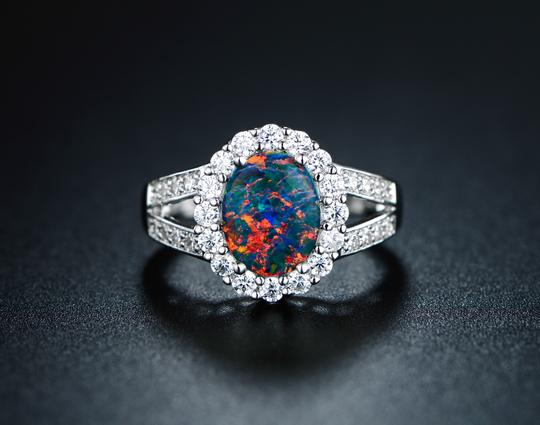 Tori Hamilton 18K White Gold Plated Opal & Cubic Zirconia Ring - Size 5 (OPRB1028)-5