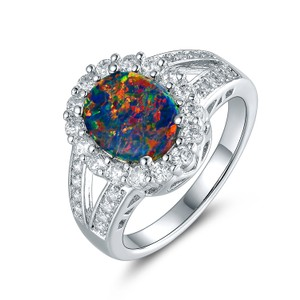Tori Hamilton 18K White Gold Plated Opal & Cubic Zirconia Ring Size 10 (OPRB1028)-10