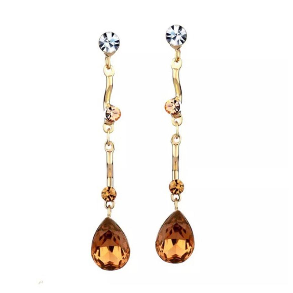 Other Swarovski Crystals Handmade Cognac Drop Earrings Df100