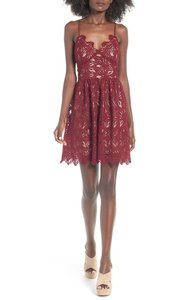 J.O.A. short dress Burgundy Maroon Lace Fit And Flare Open Back Crochet on Tradesy