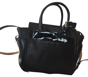 Reed Krakoff Satchel in Black leather with patent leather trim