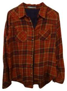 Maurices Button Down Shirt red, black, orange and browns