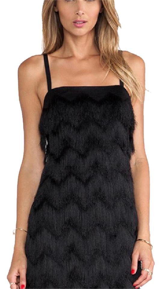 ac6ff339d23 MILLY Black Fringe Short Night Out Dress Size 6 (S) - Tradesy