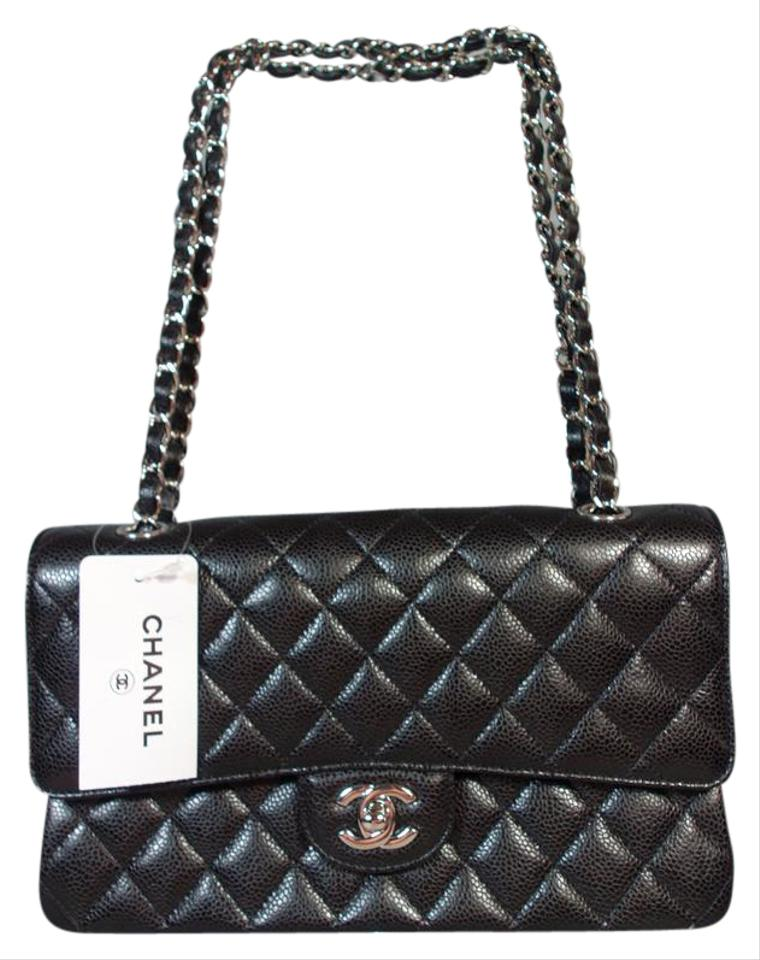 Chanel Classic Flap Medium Silver Double Black Caviar Leather ... 9a0f5fb68fec3