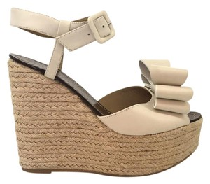 Valentino Bow Studded Rockstud white Wedges