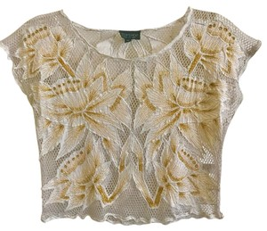 Topshop Top White/Gold