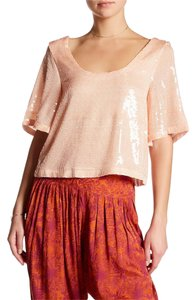 Free People Loose Sequin Flutter Sleeve Cropped Top Salmon