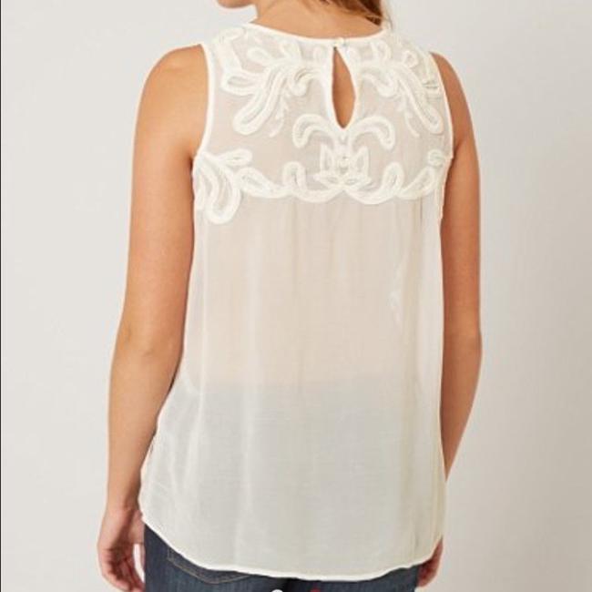 Lucky Brand Embellished Embroidered Beaded Tank Sleeveless Top Cream