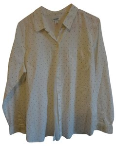 Old Navy Button Down Shirt white with black dots