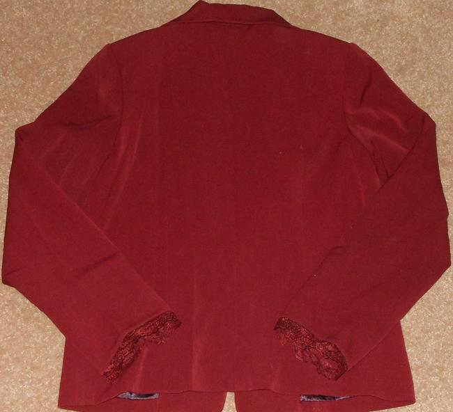 Dialogue New Burgundy Red Lined Suit Blazer Jacket With Lace Trim Size 4