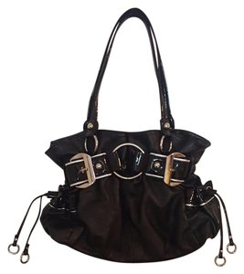 Wilsons Leather Tote in Black with silver buckles