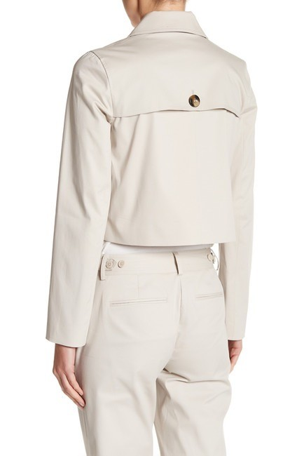 Laundry by Shelli Segal Beige Cropped Trench Double Breasted Khaki Jacket