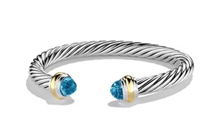 David Yurman Cable Classics Bracelet with Blue topaz and 14K Gold, 7mm