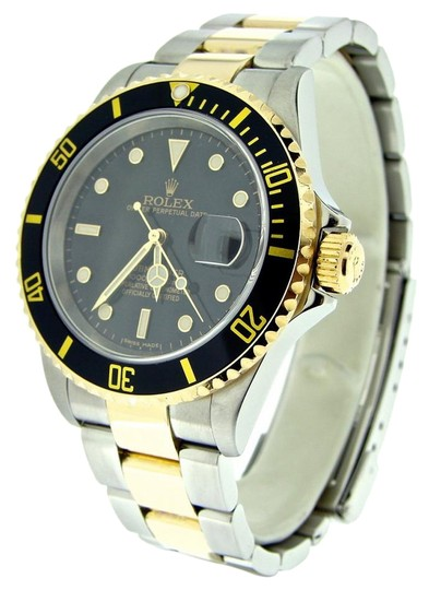 Preload https://img-static.tradesy.com/item/21245638/rolex-black-mens-two-tone-18kss-submariner-16613t-watch-0-1-540-540.jpg