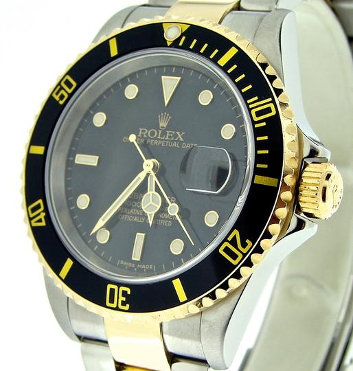 Rolex Mens Rolex Two-Tone 18K/SS Submariner Black 16613T